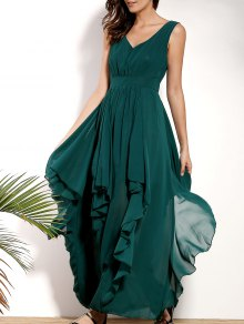 Ruffles Plunging Neck Formal Maxi Dress - Green L