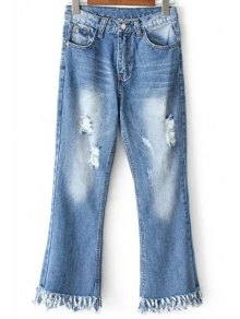 Ripped Pockets Rough Selvedge Jeans - Light Blue L