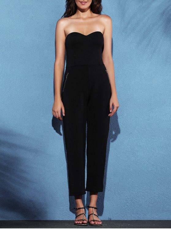 fancy Zippered Fitted Bandeau Jumpsuit - BLACK 2XL