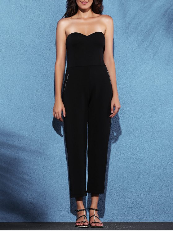 sale Zippered Fitted Bandeau Jumpsuit - BLACK L