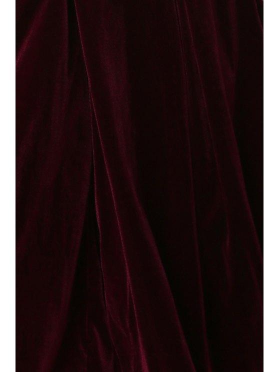 Solid Color High Wasit Wide Leg Velvet Pants - DARK RED XL Mobile