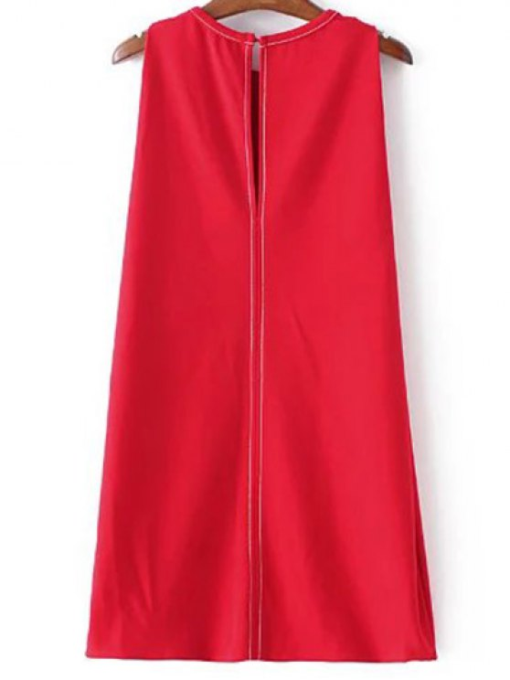 Sleeveless A-Line Dress - RED L Mobile