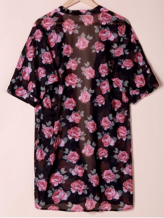 Collarless See Through Floral Print Kimono - BLACK L Mobile
