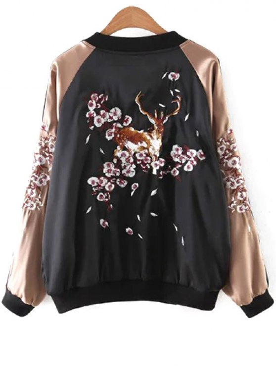 Deer Embroidery Stand Neck Long Sleeve Jacket - BLACK S Mobile