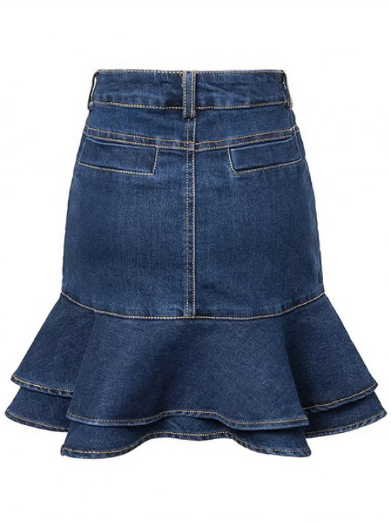 Contrast-Stitch Denim Mermaid Skirt - BLUE L Mobile
