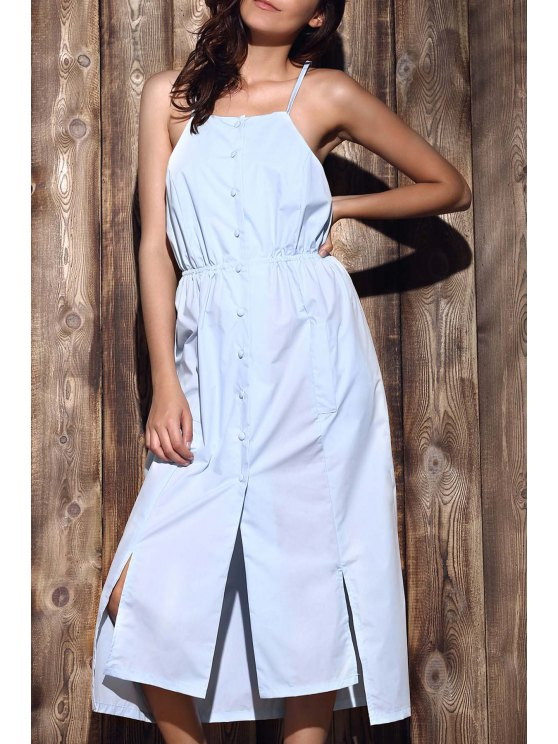 outfit High-Low Hem Spaghetti Straps Dress - LIGHT BLUE XL