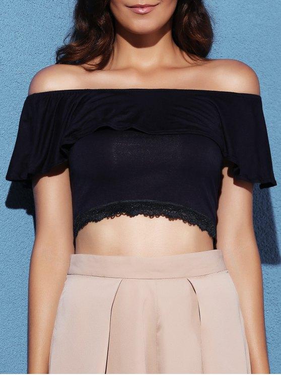 fashion Off The Shoulder Short Sleeve Crop Top - DEEP BLUE S