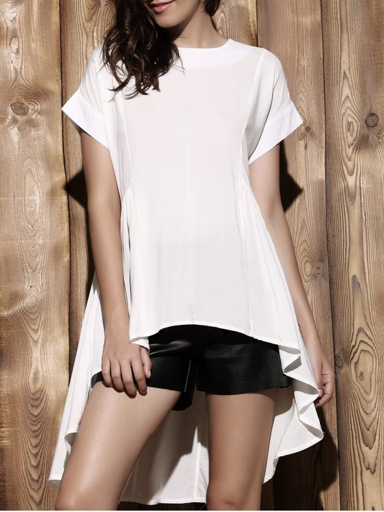 women Loose High-Low Round Neck Short Sleeve Blouse - WHITE S