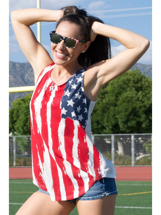 American Flag Print Tank Top - RED WITH WHITE M Mobile