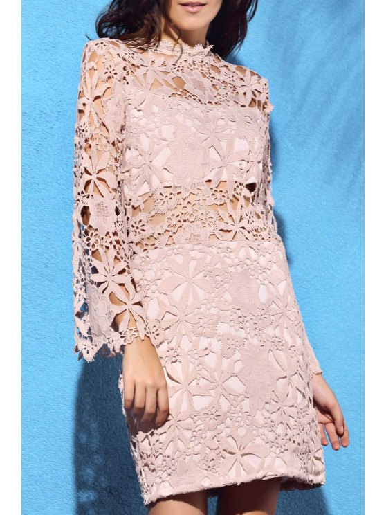 women Flare Sleeve Guipure Lace Pink Dress - NUDE S