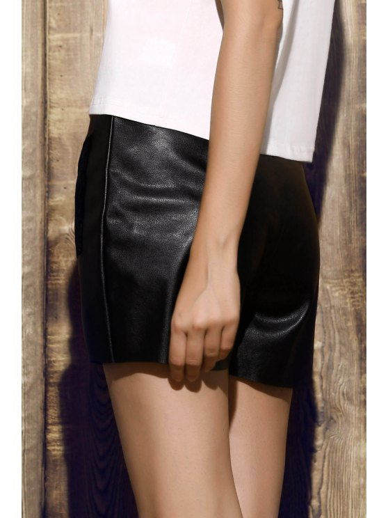 PU Leather Shorts - BLACK M Mobile