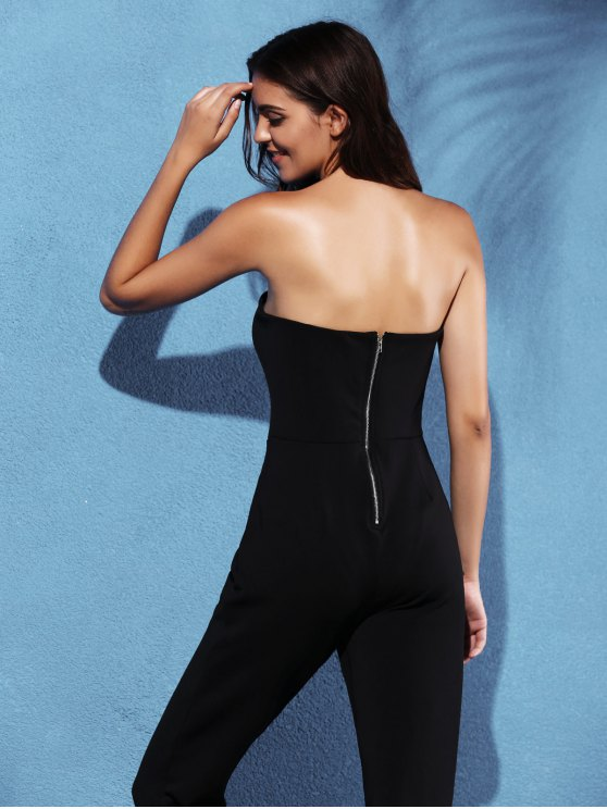 Zippered Fitted Bandeau Jumpsuit - BLACK 2XL Mobile
