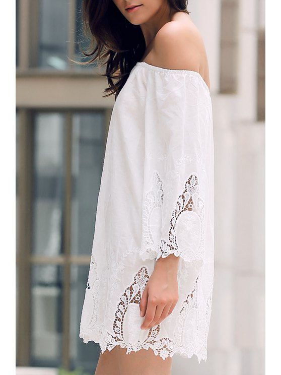latest Off-The-Shoulder Lace Trim Dress - WHITE L