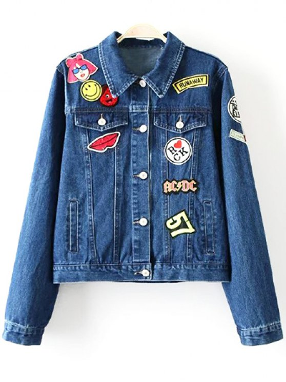 Patch Design Denim Turn Down Collar Jacket - BLUE XL Mobile