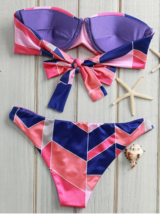 Geometric Print Gathered Bikini Set - PINK XL Mobile