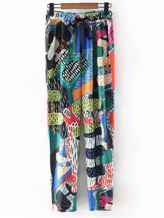 Colorful imprimé taille haute Narrow Pieds Pantalons - Vert S