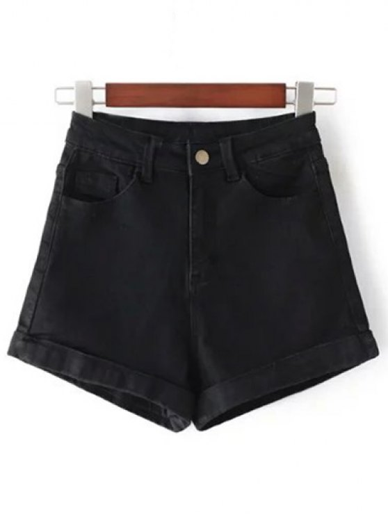 High-Rise Denim Shorts - BLACK 28 Mobile