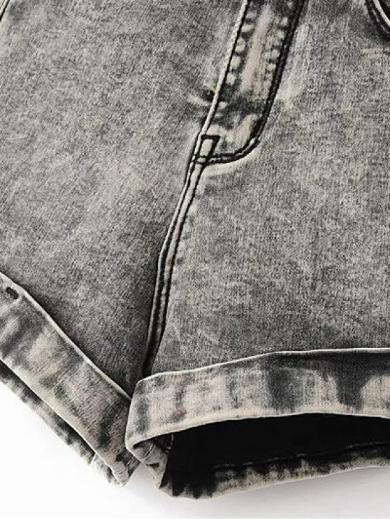 Snow Wash Denim Shorts - BLUE 28 Mobile