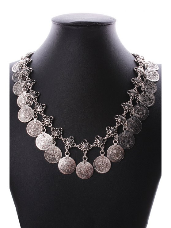 Round Coin Statement Necklace and Wrist Chain - SILVER  Mobile
