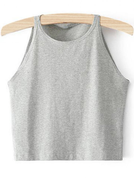 online Cropped Ribbed Tank Top - LIGHT GRAY M