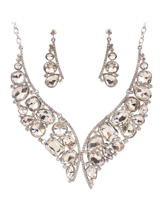 new Butterfly Jewelry Necklace and Earrings - WHITE
