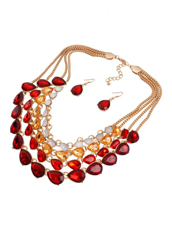 Multilayered Jewelry Necklace and Earrings -   Mobile