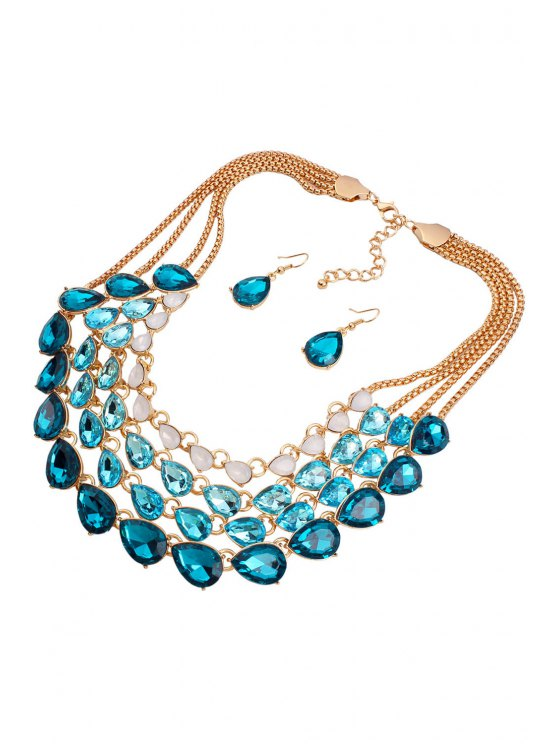 Multilayered Jewelry Necklace and Earrings - BLUE  Mobile