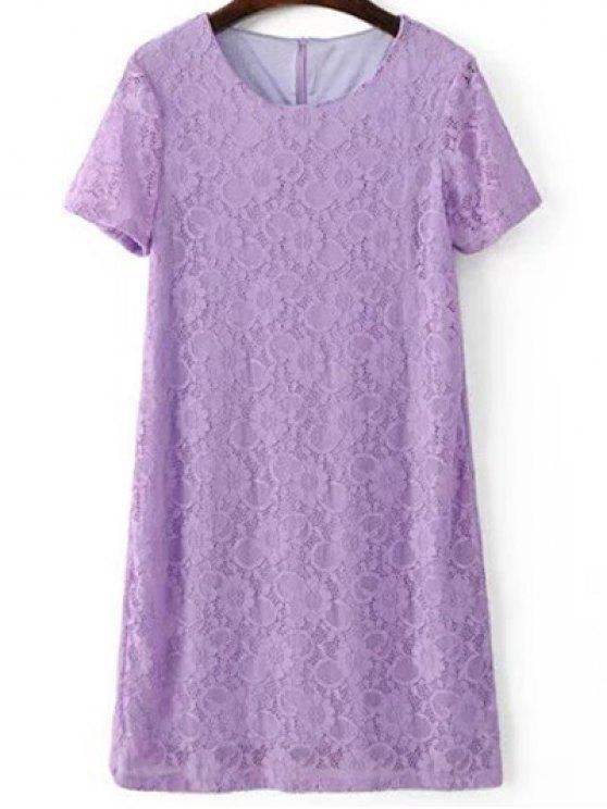 Short Sleeve Lace Shift Dress - LIGHT PURPLE S Mobile