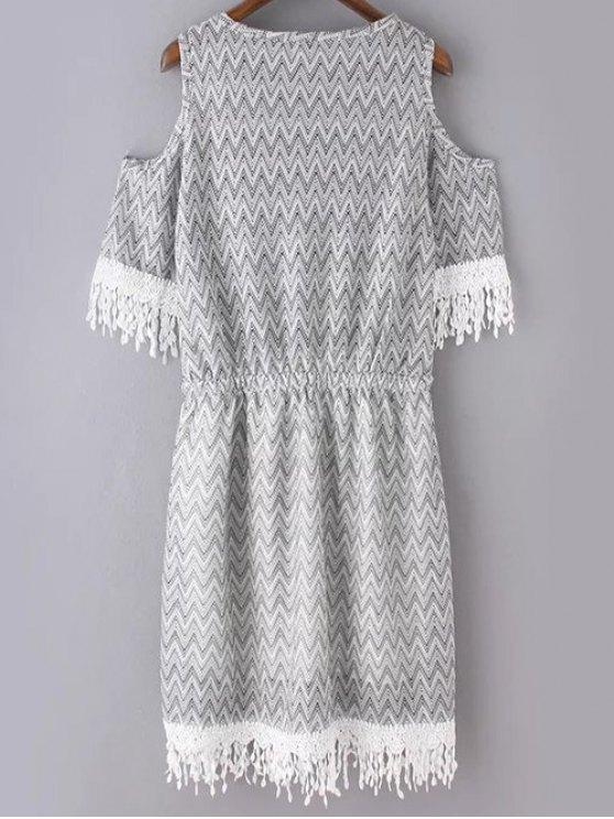 Cold Shoulder Round Neck Zig Zag Print Dress - LIGHT GRAY S Mobile