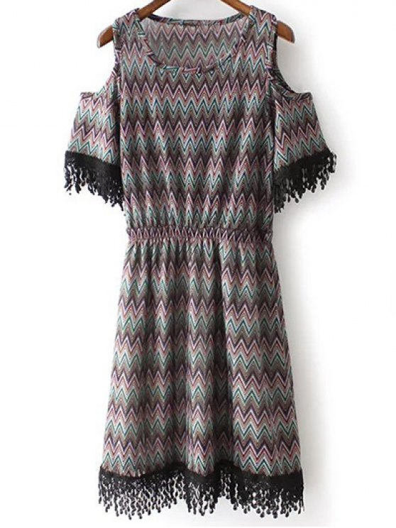 Cold Shoulder col rond Zig Zag Print Dress - Noir L