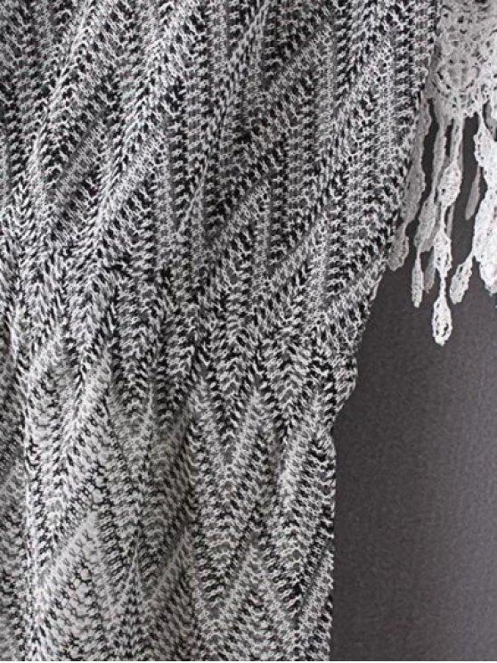 Cold Shoulder Round Neck Zig Zag Print Dress - BLACK L Mobile