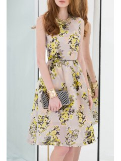 Floral Print Knee-Length Sleeveless Dress - Yellow S