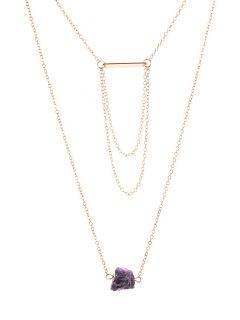 Faux Gem Pendant Multilayered Necklace - Golden