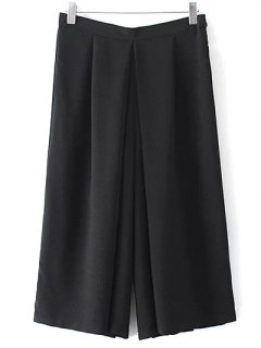 Wide Leg Black Skorts - Black M