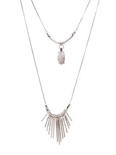 Faux Gem Tassel Pendant Necklace - Silver