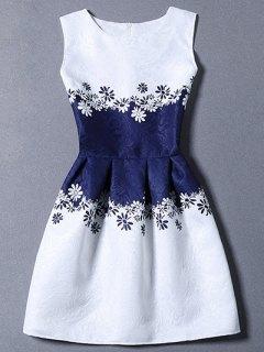 Waisted Corset Printed Round Neck Sleeveless Dress - Blue S