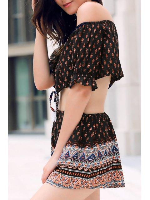 womens Floral Off Shoulder Crop Top and Shorts - BLACK L Mobile