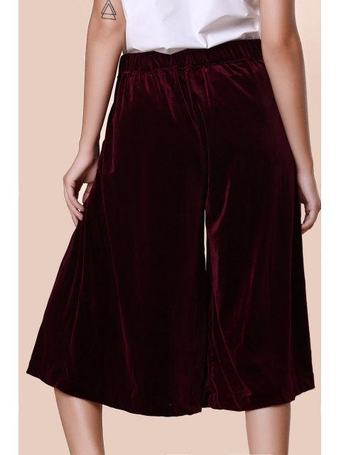 shop Solid Color High Wasit Wide Leg Velvet Pants - DARK RED XL Mobile