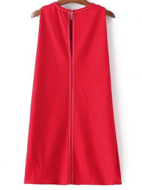 women's Sleeveless A-Line Dress - RED L Mobile