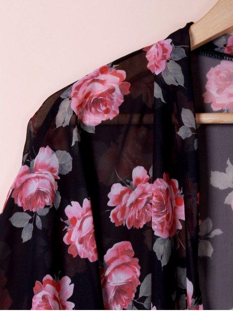 chic Collarless See Through Floral Print Kimono - BLACK L Mobile