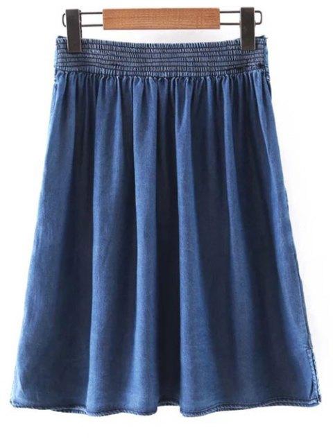 trendy Pockets Shirt Collar Short Sleeve T-Shirt and Folded High Waist A-Line Denim Skirt - BLUE M Mobile