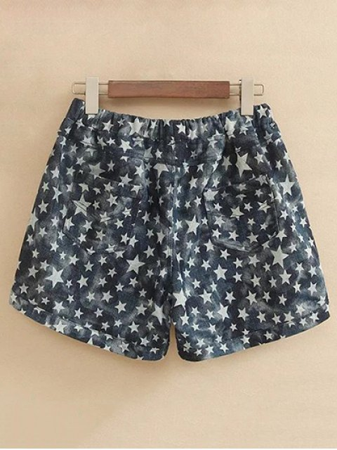 shop Pentagram Print Drawstring Shorts - COLORMIX 2XL Mobile