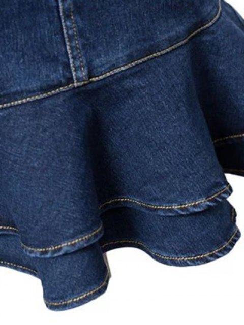 latest Contrast-Stitch Denim Mermaid Skirt - BLUE L Mobile