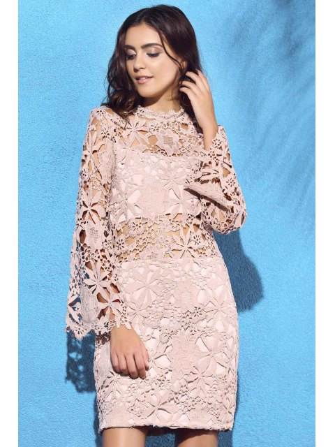 affordable Flare Sleeve Guipure Lace Pink Dress - NUDE XL Mobile