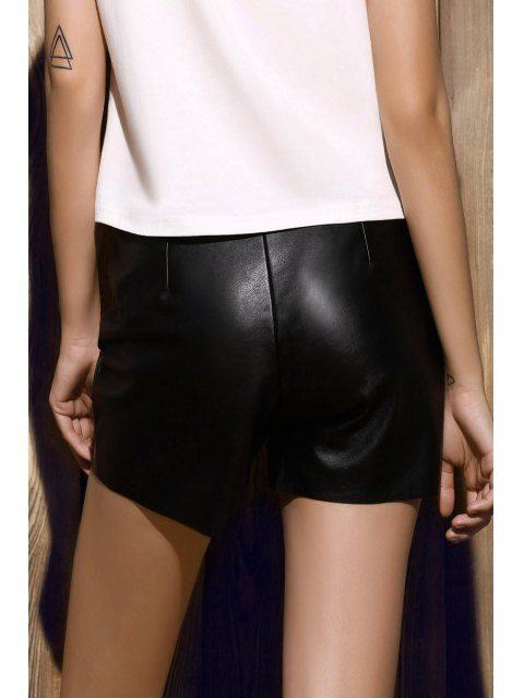 fancy PU Leather Shorts - BLACK M Mobile