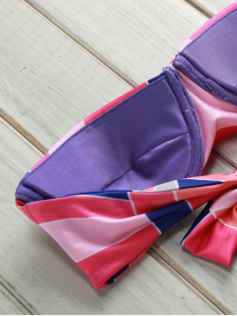 outfits Geometric Print Gathered Bikini Set - PINK XL Mobile