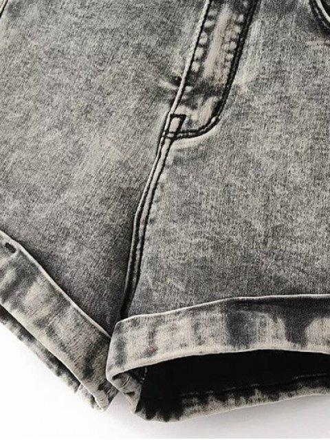 fashion Snow Wash Denim Shorts - BLUE 27 Mobile