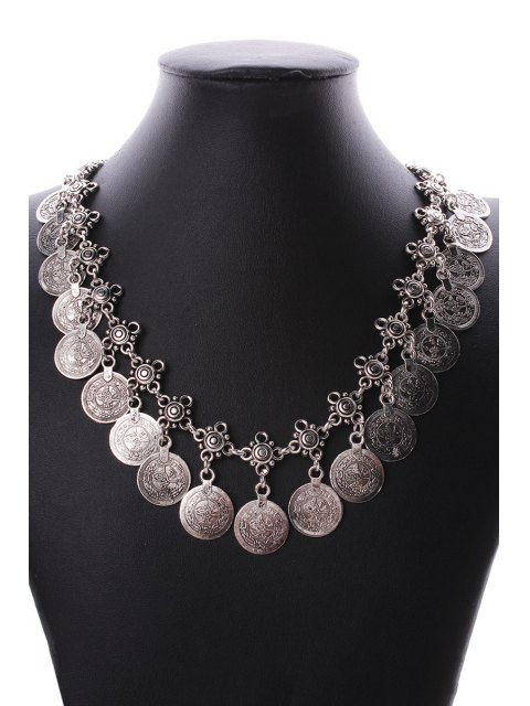 chic Round Coin Statement Necklace and Wrist Chain - SILVER  Mobile