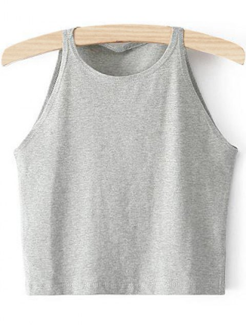 online Cropped Ribbed Tank Top - LIGHT GRAY M Mobile