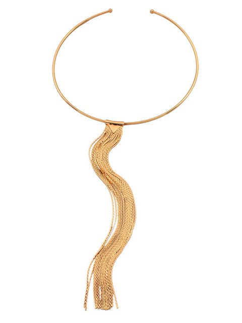 buy Alloy Long Tassel Necklace - GOLDEN  Mobile